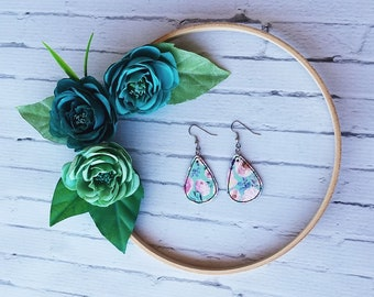 Teal with Pink and Purple Floral Unique Teardrop Synthetic Printed Leather Earrings