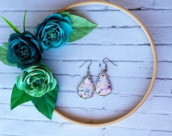Pink and Purple Floral on Grey Unique Teardrop Synthetic Printed Leather Earrings