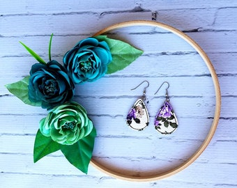 Violet Floral on White Unique Teardrop Synthetic Printed Leather Earrings
