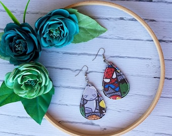 Comic Book Character Heroes Spider Hero and Silver Hero Unique Teardrop Synthetic Printed Leather Earrings