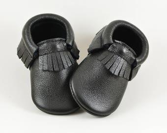 Black Baby Moccasins Baby Shoes Baby Moccs Infant Moccasins Newborn Moccs Toddler Moccs Genuine Leather Handmade Moccasins Soft Soled Shoes