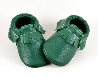 Baby Moccasins Kelly Green Saint Patricks Genuine Leather Moccs Newborn Boys Girls Kids Toddler Soft Soled Shoes Handmade Prewalker Booties