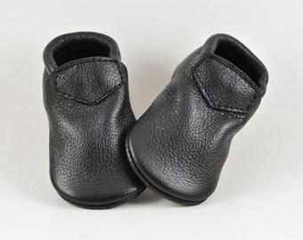Baby Moccasins Fringeless Black Lokicks Soft Soled Genuine Leather Toddler Newborn Girl Boy Handmade Gift Prewalker Booties Shoes Loafers