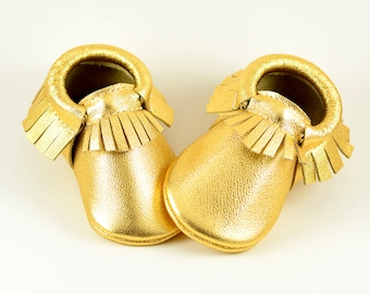 Baby Moccasins Metallic Gold Moccs Genuine Leather Newborn Boys Girls Kids Toddler Soft Soled Shoes Handmade Prewalker Crib Booties