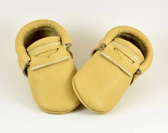 Penny Loafers Baby Moccasins Butterscotch Moccs Handmade Soft Sole Shoes Genuine Leather Moccs Newborn Kids Toddlers Boys Girls Prewalker