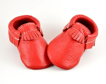 ON SALE! Classic Red Baby Moccasins Handmade Moccs Genuine Leather Soft Soled Shoes Infants Toddlers Boys Girls Prewalker Booties 4th July