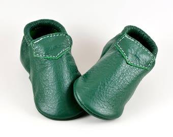 Baby Moccasins Fringeless Kelly Green Lokicks Genuine Leather Toddler Newborn Boy Girl Handmade Soft Sole Shoes Prewalker Slipper Loafers