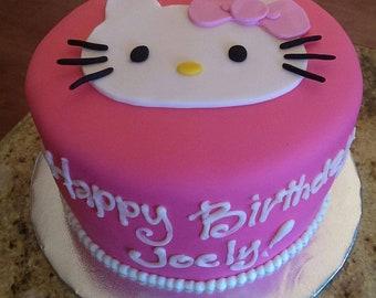 6c09f1cc5 2-D Fondant Hello Kitty face Cake Topper