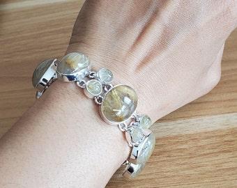Natural Golden Rutile Quartz-925 Sterling Silver-Bohemian Bracelet-Handmade Bracelet-Gemstone Bracelet-Designer Ethnic Bracelet For Gift
