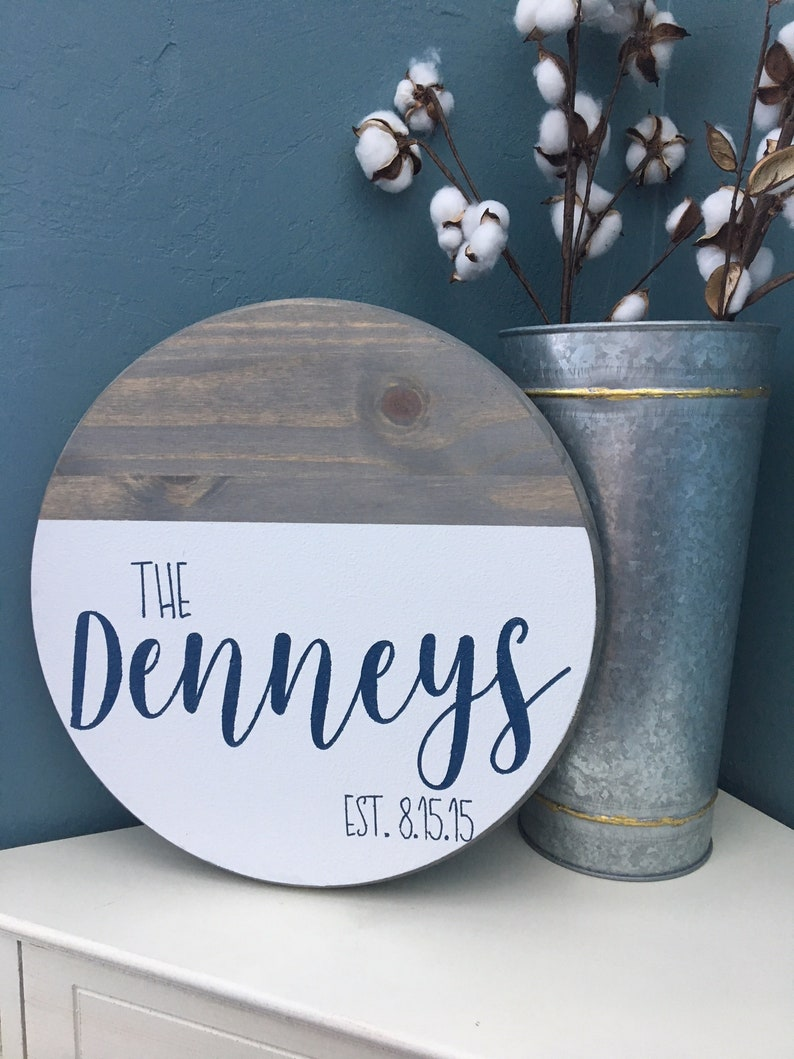 Personalized Wooden Sign Round Wood Sign  Last Name Sign  image 0