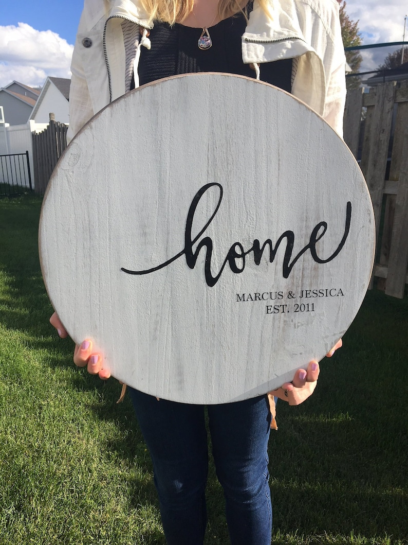 Personalized Wooden Sign Round Wood Sign  Farmhouse Sign  image 0