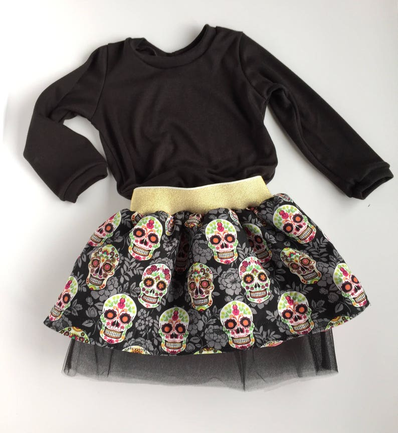 birthday outfit Sugar skulls baby skirt gold toddler girls Halloween outfit trendy baby clothes tulle Halloween cute kids clothes
