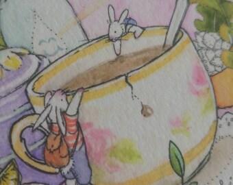 "Bunny Tea Party - 5×6"" Giclee Print"