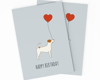 PRINTABLE Jack Russel Terrier Birthday Card For Your Love Best Friend Kids Happy Dog Digital