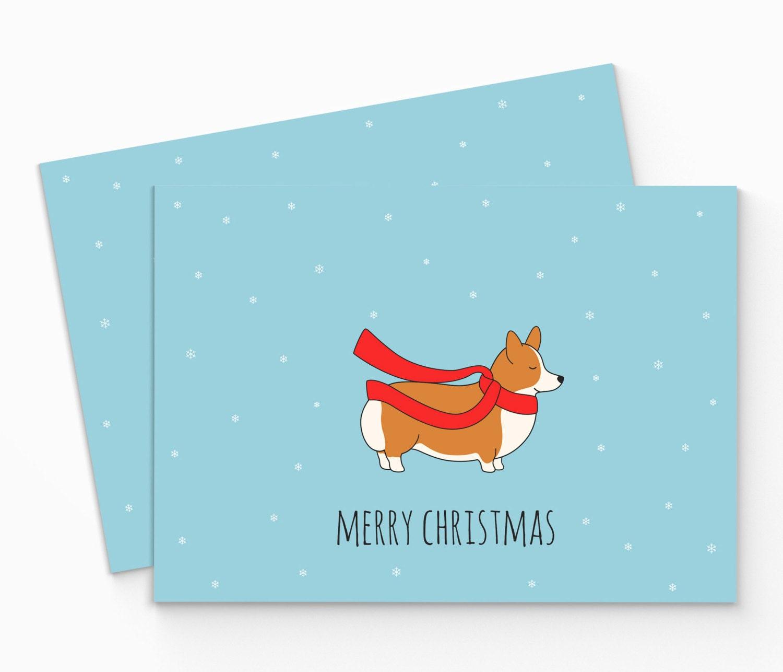 Printable Corgi Christmas Card Digital Corgi Merry Christmas | Etsy