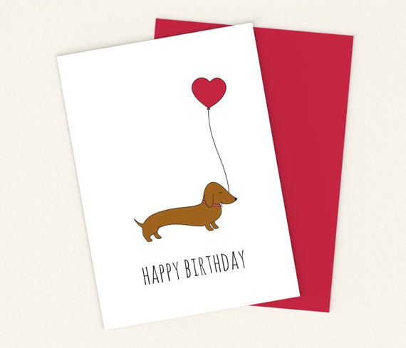 Printable Dachshund Birthday Card Printable Wiener Dog Card Etsy