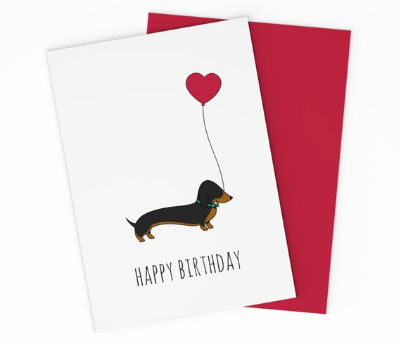 Printable Sausage Dog Birthday Card Dachshund