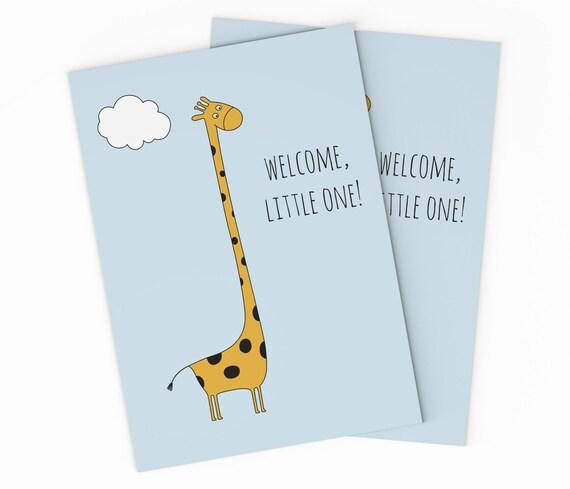 printable giraffe new baby card congratulations baby card etsy