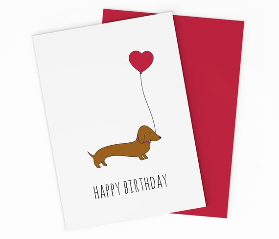 Printable Dachshund Birthday Card For Your Love Or Best