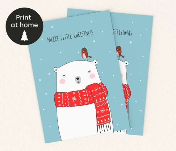 INSTANT DOWNLOAD Christmas Card Printable Holiday Greeting Card Happy Holidays Digital Download Merry Christmas Card DIY