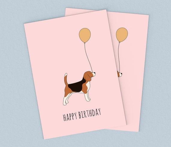 Cute Beagle Dog Puppies Personalised Birthday Greetings Card