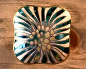 Emerald Green and gold white painted ceramic square furniture cabinet knob, floral face, gold steel stem and hardware included