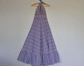 Vintage 60's 70's Lanz Originals blue gingham halter maxi dress // Size XS / S
