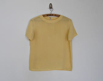 Vintage 80s yellow silk crop blouse // Size S