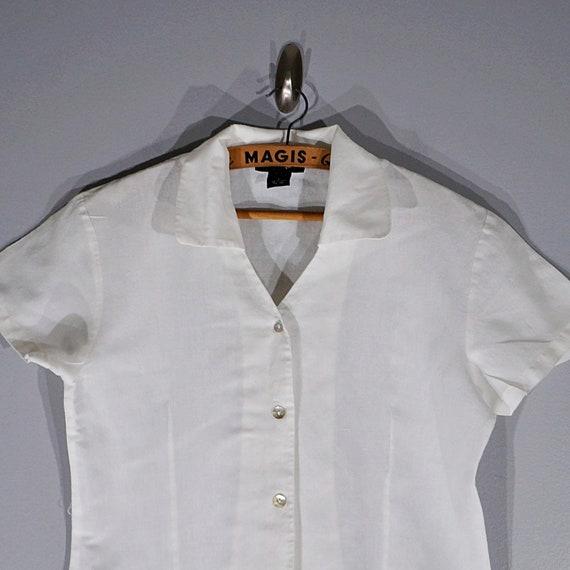 Vintage 80's 90's Halston linen crop blouse // Si… - image 2