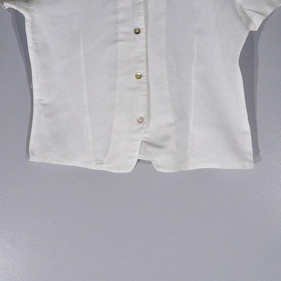 Vintage 80's 90's Halston linen crop blouse // Si… - image 4