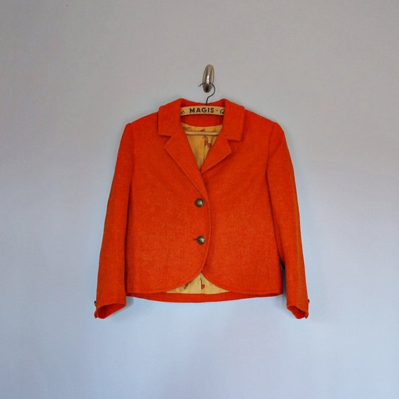 Vintage 40's 50's orange wool crop jacket // Size