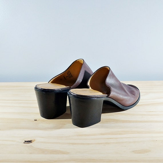 Vintage 80's brown leather block heel mules // Si… - image 5