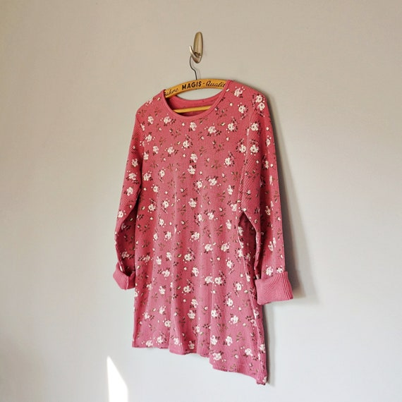 Vintage 80's 90's dusty pink floral thermal knit … - image 5