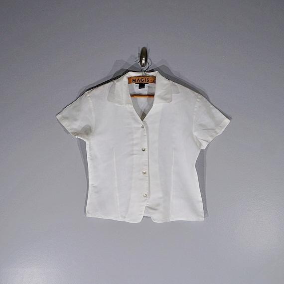 Vintage 80's 90's Halston linen crop blouse // Si… - image 3