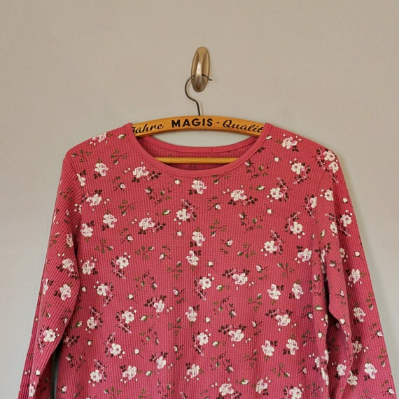 Vintage 80's 90's dusty pink floral thermal knit … - image 3