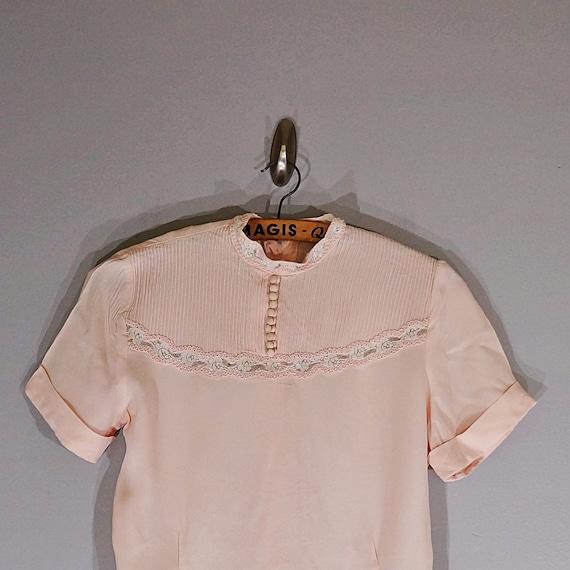 Vintage 40's MORLOVE The Couturier blush lace fit… - image 3