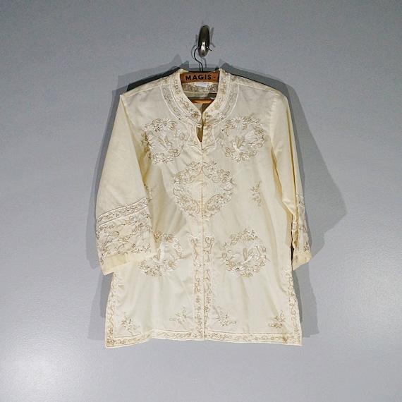 Vintage 50's 60's cream floral embroidered orienta