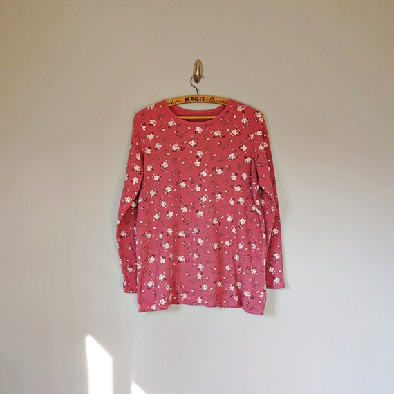 Vintage 80's 90's dusty pink floral thermal knit … - image 2