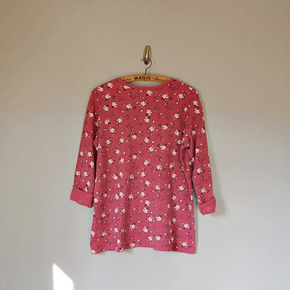 Vintage 80's 90's dusty pink floral thermal knit … - image 6