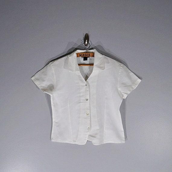 Vintage 80's 90's Halston linen crop blouse // Si… - image 1