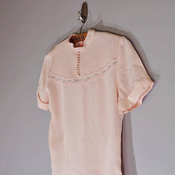 Vintage 40's MORLOVE The Couturier blush lace fit… - image 6