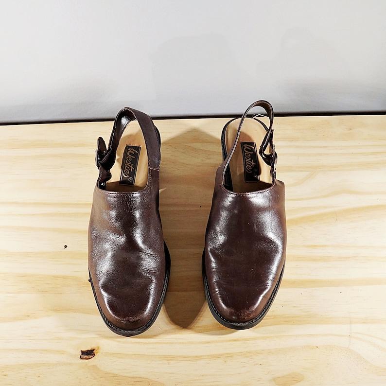 Vintage 80/'s brown leather sling back mules  Size US 6.5  EU 37