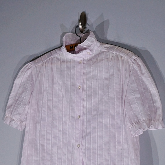 Vintage 70's 80's lilac ruffled blouse with puffy… - image 3