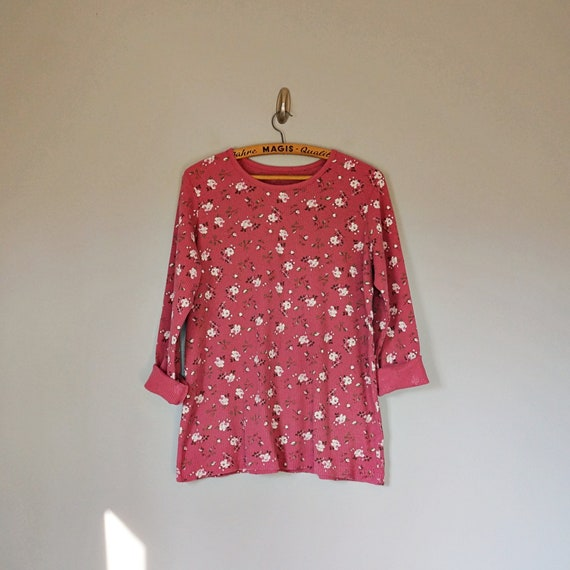 Vintage 80's 90's dusty pink floral thermal knit … - image 1