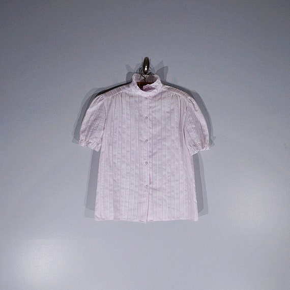 Vintage 70's 80's lilac ruffled blouse with puffy… - image 1