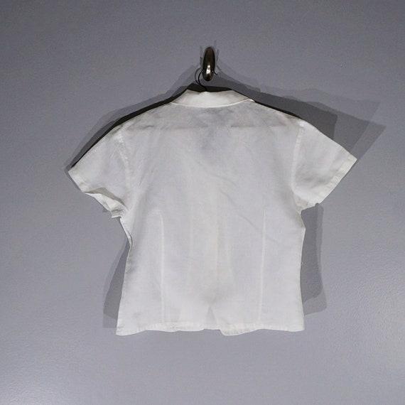 Vintage 80's 90's Halston linen crop blouse // Si… - image 6