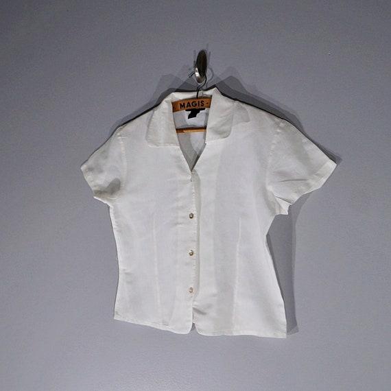 Vintage 80's 90's Halston linen crop blouse // Si… - image 5