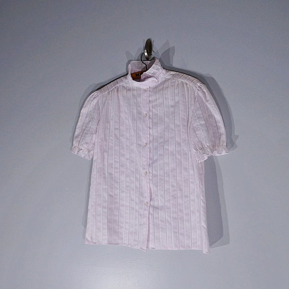 Vintage 70's 80's lilac ruffled blouse with puffy… - image 6