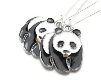 d35321115 PANDA Earrings, 925 Silver Kidney Wires, Black Chinese
