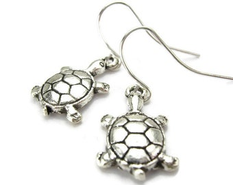 BOX TURTLE Earrings, 925 Silver French Hooks, Eastern Pond Turtle, Aquatic & Freshwater Reptile, Zoologist's Jewelry, Handmade Gift Under 15